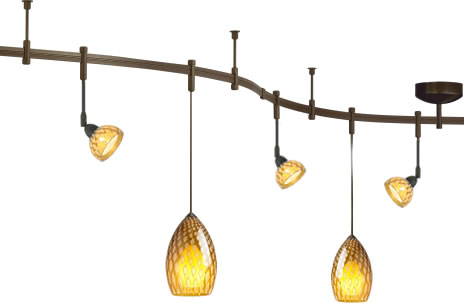 Tech Lighting Monorail in Antique Bronze Finish, Tilt Heads with Firebird Glass Shield Accessories and Firebird Pendants in Owl Amber glass