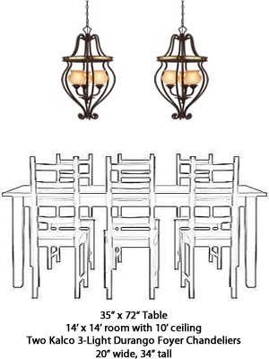 Kalco 3-Light Foyer Chandelier 6108 from the Durango Collection