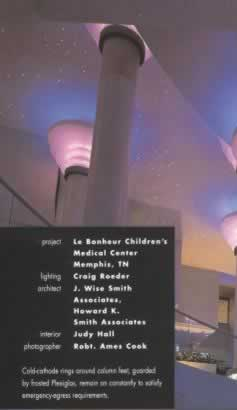"At the Le Bonheur Children's Hospital - Memphis, TN ""Stars, courtesy of fiber optics, change colors as they twinkle."" Lighting Design Sourcebook: 600 Solutions for Residential and Commercial Spaces Paperback by Randall Whitehead"