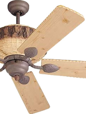 "Monte Carlo 52"" Great Lodge Rustic Ceiling Fan with the look of rough hewn pine logs with pine cone accents and Lodge Pine Blades"