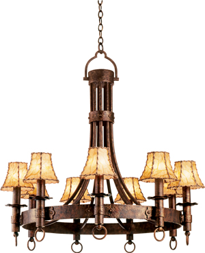 This Rustic Chandelier from Kalco has the feel of early hand-forged lighting. The leather wrapped shades are reminiscent of Western Themed and Cowboy Style lighting.