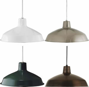 Progress P5094 Metal Shade Pendant Lights One-light cord-hung pendant with white interlined shade. Basic Metal Pendants are ideal for Kitchen Lighting or Bar Lighting.