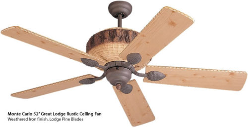 Monte Carlo Great Lodge Rustic Ceiling Fan
