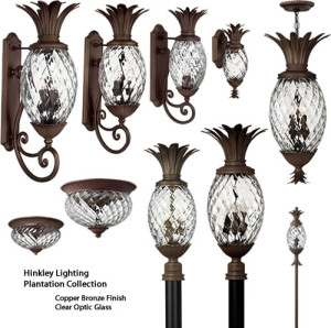 Hinkley Lighting Pineapple Shaped Plantation Outdoor Collection of Solid Brass with Copper Bronze finish and Clear Optic Glass.