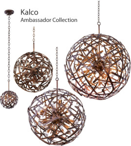 Kalco Ambassador Collection - Spherical Pendants in three sizes and a coordinating wall sconce all feature a Copper Patina finish. The unique criss-crossing straps work in a transitional, urban or contemporary interior.