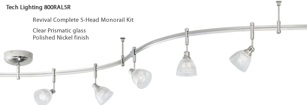 Tech Lighting 800RAL5FC Revival Complete 5-Head Monorail Kit