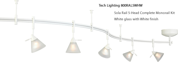 Tech Lighting 800RAL5WHW Sola Rail 5-Head Complete Monorail Kit - White glass with White finish
