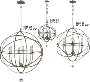 Crystorama 9225, 9226, 9228 Solaris Orb Chandeliers