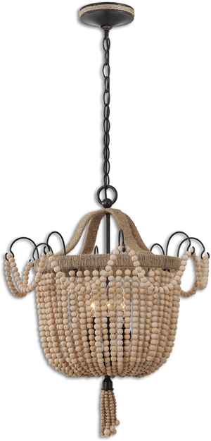 Uttermost 21992 Civenna Natural Wood Beads Chandelier Pendant
