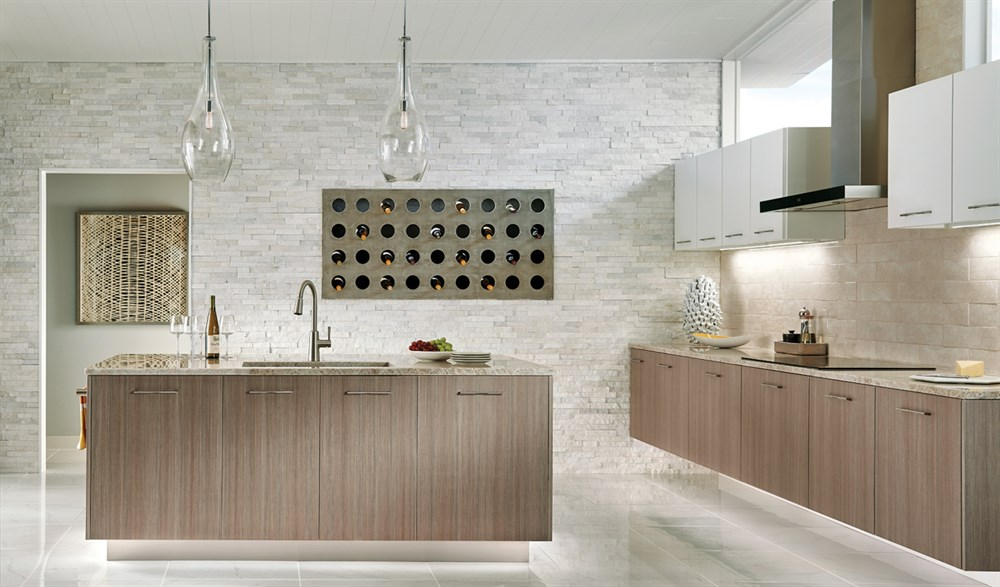 Contemporary Kitchen with Kichler 42475CHCLR Everly Glass Pendants