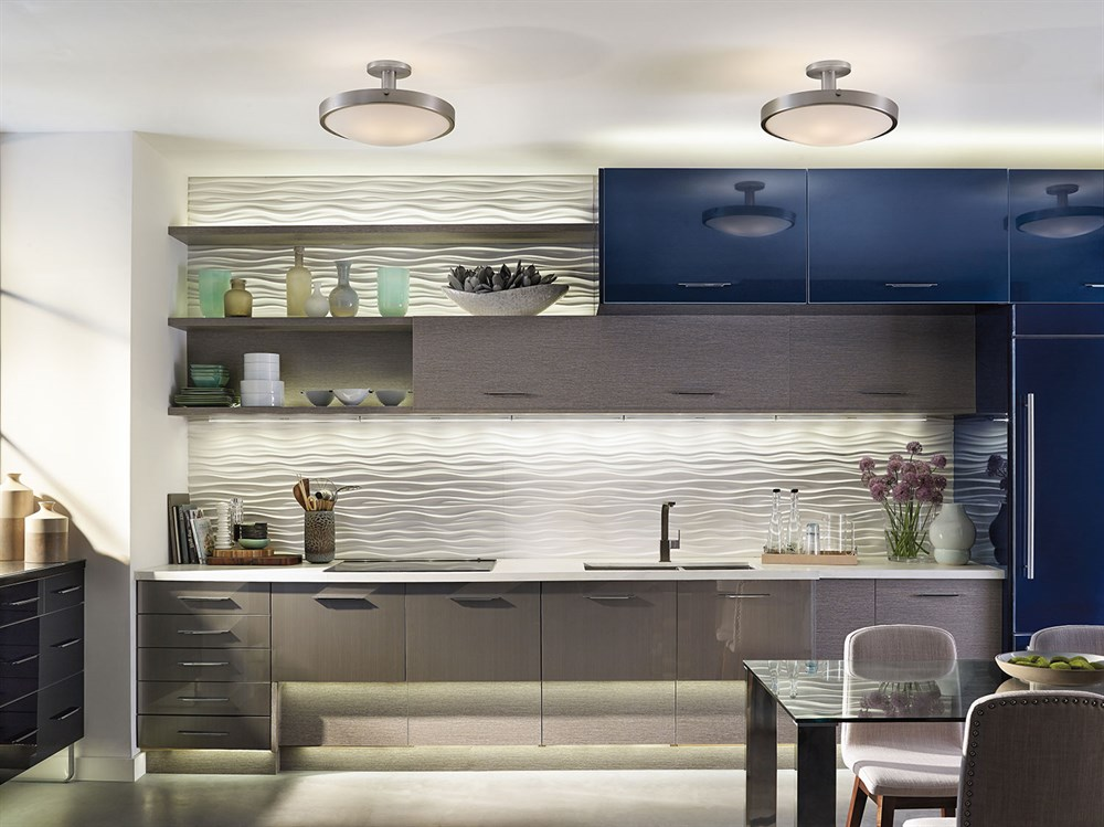 Contemporary Kitchen with Kichler 42246NI semi flush ceiling lights and Design Pro LED 2700K cabinet lights