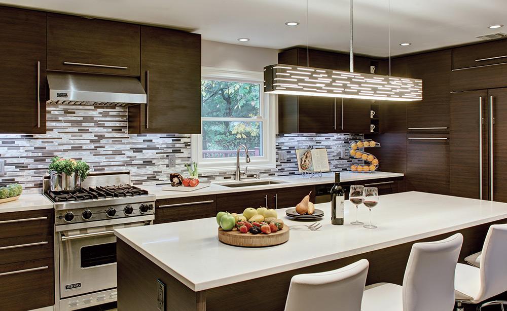 Contemporary Kitchen with Tech Lighting 700LSRVL Revel Linear Pendant suspended over bar