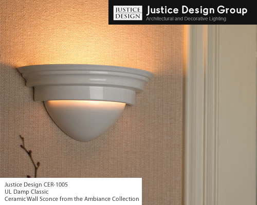 Justice Design CER-1005 UL Damp Classic Ceramic Wall Sconce from the Ambiance Collection