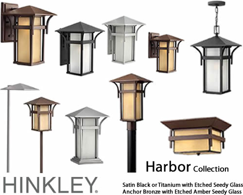 Hinkley Lighting Harbor Outdoor Collection The Mission Style Harbor Collection from Hinkley Lighting has an updated nautical feel, with a style inspired by the clean, strong lines of a welcoming lighthouse. The cast aluminum and brass construction is accented by bold stripes against the seedy glass.