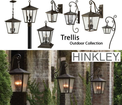 Hinkley Lighting Trellis Outdoor Collection Trellis by Hinkley Lighting is a collection of traditional European-style lanterns designed in a Regency Bronze finish with dense clear seedy glass. The large scroll arm detail, cast loop finial and true rivet detail create a refined elegance. The collection includes wall lanterns in many sizes, post, pier and hanging lantern and coordinating path lights.