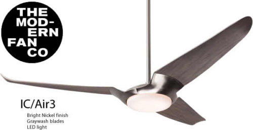 Modern Fan IC/Air3 designed by Guto Indio Da Costa for The Modern Fan Company with LED light