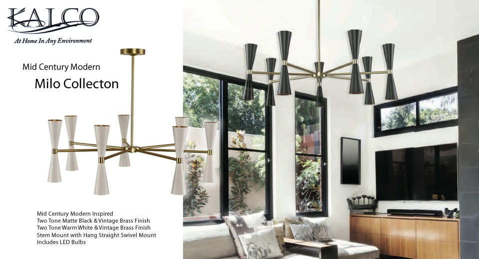 Kalco's Milo Collection combines Mid-Century Modern sensibilities with modern LED technology. Constructed of steel, then finished in your choice of Two-tone Matte Black or Warm White with Vintage Brass.