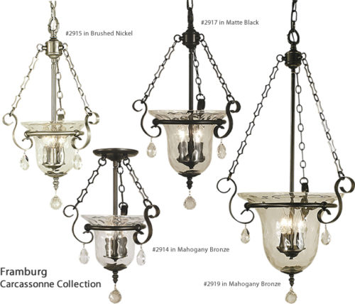 Framburg 2915, 2917, 2919 Pendants from the Carcassonne Collection