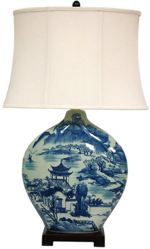 "Oriental Furniture B0061NK5RS 32"" Blue and White Ming Landscape Moon Vase Lamp"