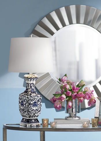 "Barnes and Ivy MC02258-A 29"" Iris Blue and White Ceramic Table Lamp with Crystal Base"
