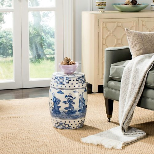 Safavieh Castle Gardens Collection Glazed Ceramic Blue Ocean Jewel Chinoiserie Garden Stool