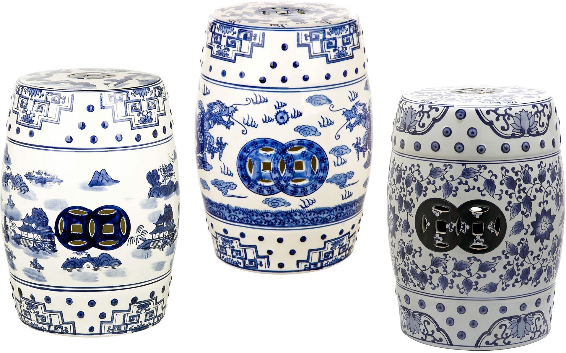Safavieh Castle Gardens Glazed Ceramic Blue Chinoiserie Garden Stools