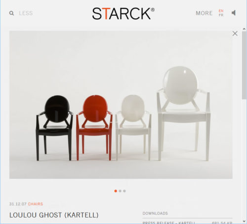 Pillippe Starck's website shows Loulou Ghost Chairs, smaller versions of the original Ghost Chair.