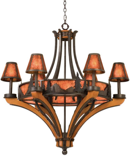 Kalco 5811NI Aspen 6-Light Treescape Chandelier - This Adirondack style chandelier brings the elegant rustic style of the Great Camps of the Adirondack Mountains of New York to your home