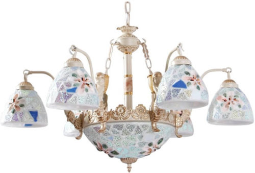 Sanguine Sunny SSDJ433 Mermaids and Seashells 6-Light Chandelier - Iridescent glass takes on all the colors of the seashore, yellow, blue, green and pink hues.