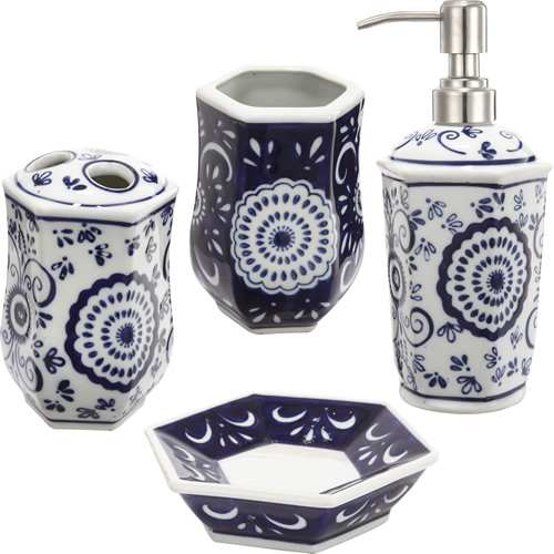 Blue and White 4-Piece Ceramic Bathroom Accessories Set - Blue Willow Bathroom Accessories - myDesign42