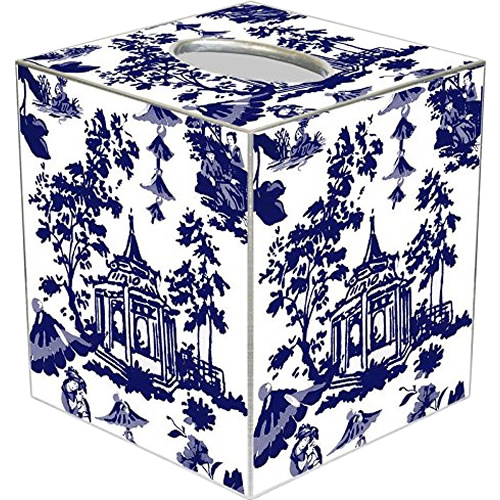 Chinoiserie Pagoda in Blue Tissue Box Cover - Blue Willow Bathroom Accessories - myDesign42