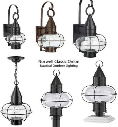 Norwell Classic Onion Nautical Outdoor Lighting - Featuring the rounded shape of an onion, encapsulated by impressively hand-crafted brass, the Cottage Onion Post fixture is an eye-catching piece ideal for entryways and rustic exteriors. The Cottage Onion series includes a small, medium and large sizes and wall-mount options. - Ship Lights – Three Styles - myDesign42
