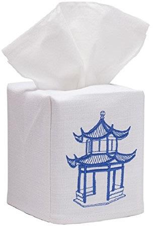 Jacaranda Living Blue and White Pagoda Tissue Box Cover