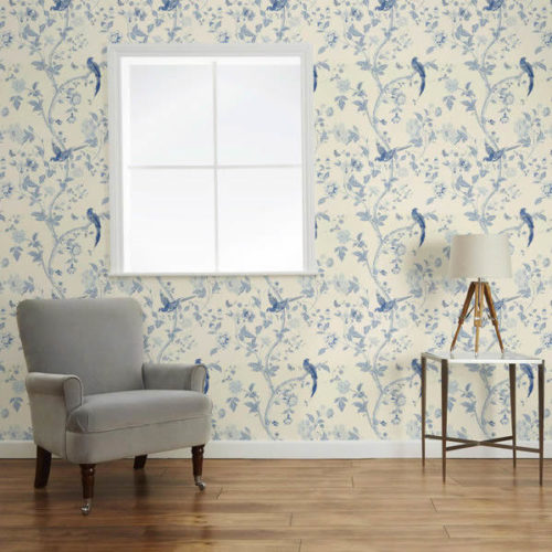 Laura Ashley Summer Palace Royal Blue Wallpaper