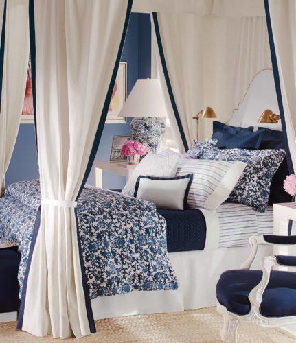Bedroom with Ralph Lauren Chinoiserie Bedding in Blue and White - Ralph Lauren Chinoiserie