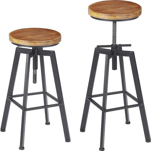Vilavita Adjustable Round Wooden Bar Stools
