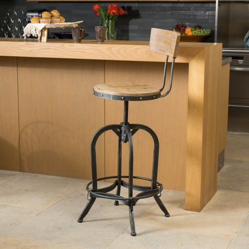 Christopher Knight Home Adjustable Wood Bar Stool