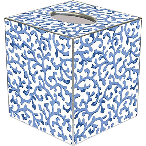 Blue Waverly Scroll Tissue Box Cover - Blue Willow Bathroom Accessories - myDesign42
