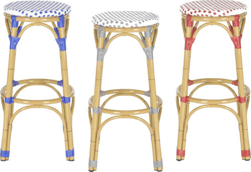 Safavieh Home Kipnuk Rattan Bar Stools are available in Blue, Grey or Red - Rattan Bar Stools - www.mydesign42.com