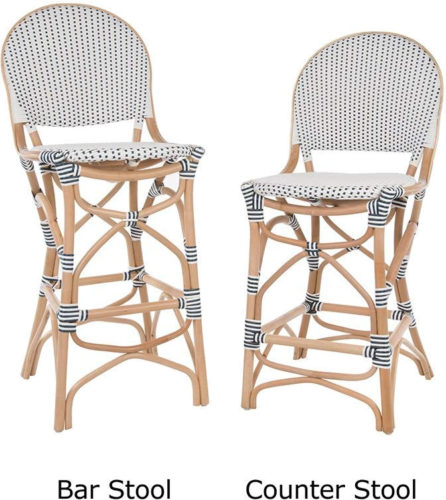 The Bistro Kitchen Bar Stool by Kouboo are available in counter height or bar height. - Rattan Bar Stools - www.mydesign42.com