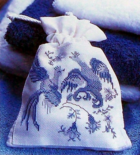 Blue Willow Accessory Bag Project from Blue & White Cross Stitch: Inspired by the Classic Designs of Willow Pattern, Delftware and Toiles de Jouy by Helena Turvey
