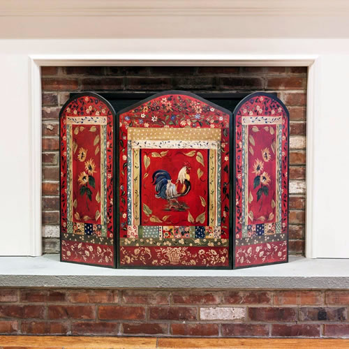 Red Rooster 3-Panel Decorative Fireplace Screen from Stupell Home Décor - Eye-catching and Practical Fireplace Screens – my Design42