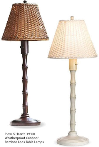 Plow & Hearth 39800 Weatherproof Outdoor Bamboo Look Table Lamps - Table Lamps for Your Porch - Deep Discount Lighting