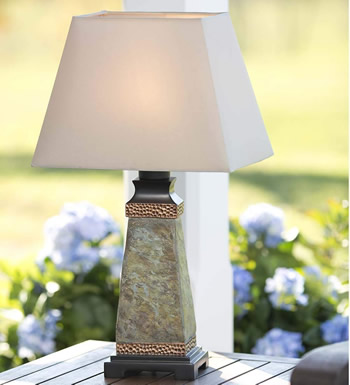 Plow & Hearth B074CJX2ZY Weatherproof Outdoor Slate Table Lamp - Table Lamps for Your Porch - Deep Discount Lighting