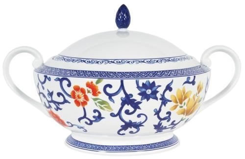 Ralph Lauren Mandarin Blue Floral Covered Casserole - Ralph Lauren Blue and White Chinoiserie Fine China Dinnerware- my Design42