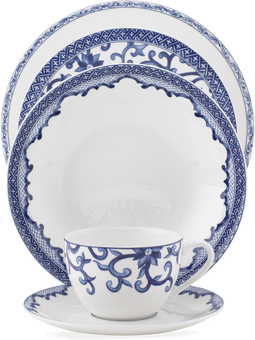 Ralph Lauren Mandarin Blue Place Setting - Ralph Lauren Blue and White Chinoiserie Fine China Dinnerware- my Design42