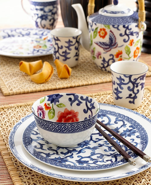 Ralph Lauren Mandarin Blue and Mandarin Blue Floral Fine China - Ralph Lauren Blue and White Chinoiserie Fine China Dinnerware- my Design42