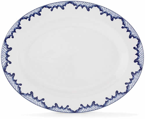 Ralph Lauren Mandarin Blue Oval Serving Platter - Ralph Lauren Blue and White Chinoiserie Fine China Dinnerware- my Design42