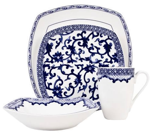 Ralph Lauren Mandarin Square Place Setting - Ralph Lauren Blue and White Chinoiserie Fine China Dinnerware- my Design42