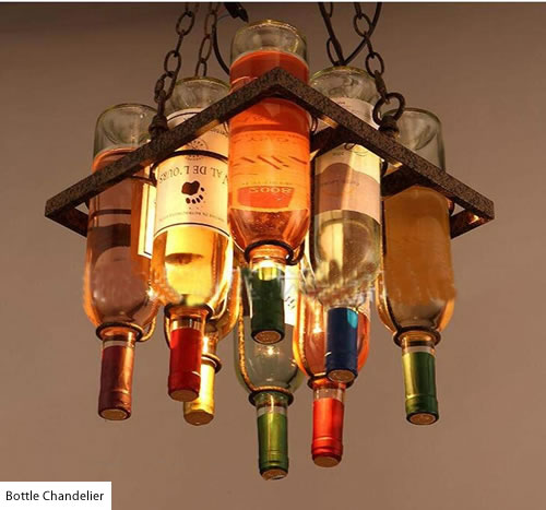 Small Square Bottle Chandelier with rings to suspend bottles - Wine Bottle Chandeliers – myDesign42